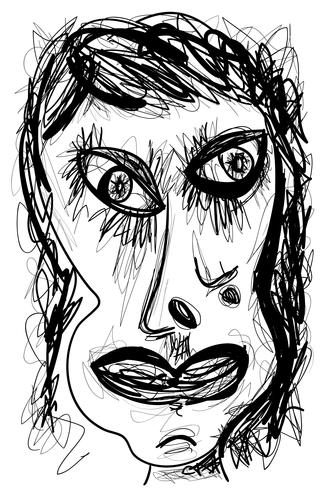 Abstract expressionist drawing of woman face portrait