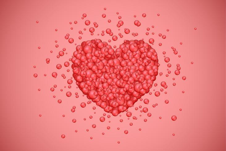 Coração vermelho feito por pequenas bolhas, ilustração vetorial