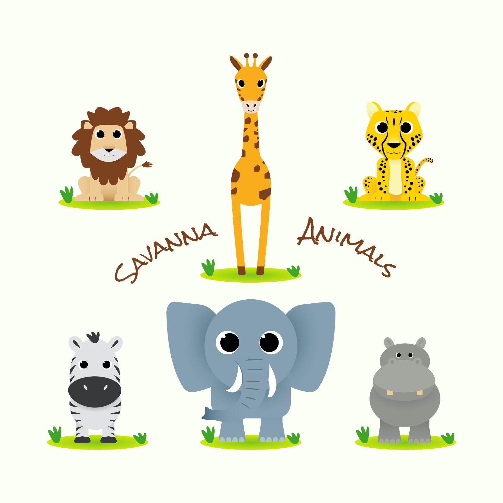 Mascot Logo Collection: Cute Savanna Animal Collection