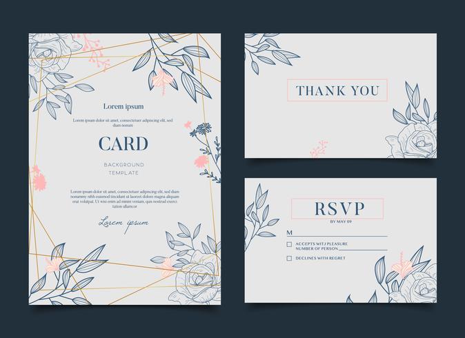 Convite floral romântico simples do cartão de casamento