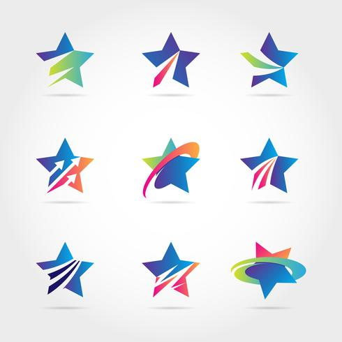 Coleção de ícone colorido símbolo logotipo azul estrela