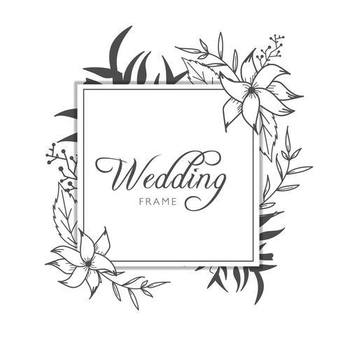 Modelo de cartão de banner de quadro de casamento floral