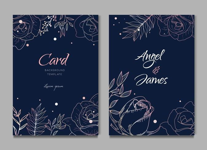Dark Blue Silhouette Floral Frame Card Wedding Invitation