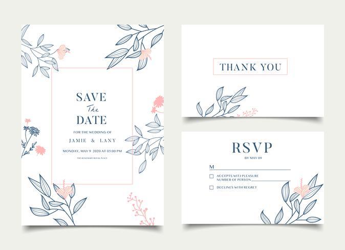 Eenvoudige bloemen viering bruiloft kaart uitnodiging
