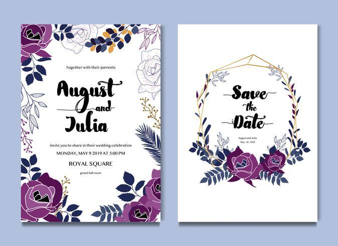 Invitación floral blanca púrpura de la invitación de boda vector