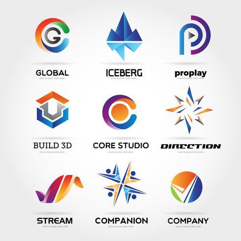 Conjunto de logotipo de negócio colorido abstrato ícone símbolo de sinal