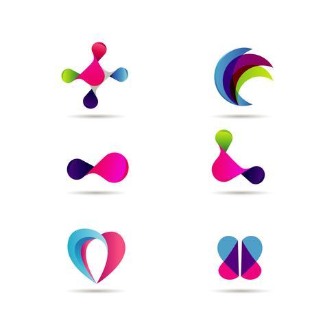 Insieme creativo variopinto dinamico di progettazione di logo di Digital