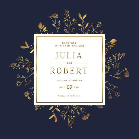 Modelo de Banner de convite elegante casamento ouro Floral