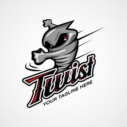 Twister tornado carácter diseño de logotipo vector