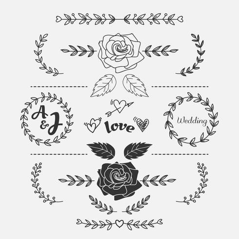 Handdragen blomma klotter bröllop hjärta mall