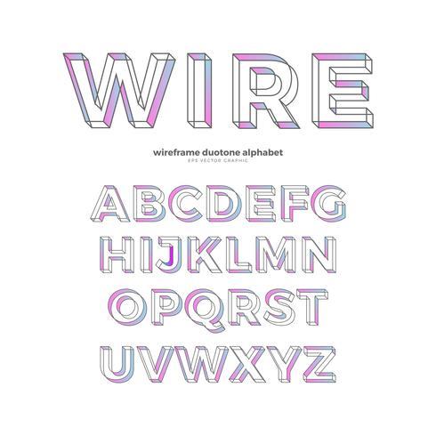 Alphabet couleur filaire Type de police Design