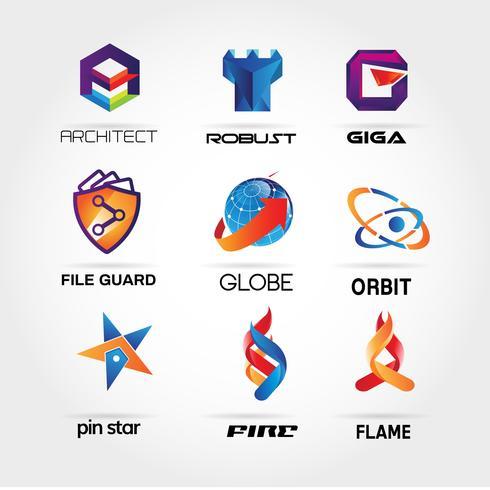 Coleção de logotipo colorido definir o ícone de símbolo de sinal de modelo