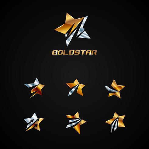 Prata brilhante e coleção de símbolo de logotipo de estrela de ouro