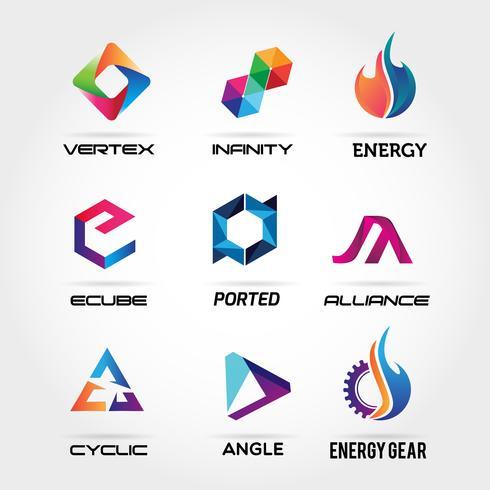 Icona di simbolo del segno di logo colorato astratto Set