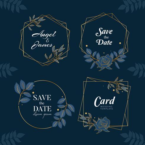 Collection de fond floral dessiné à la main bleu marine