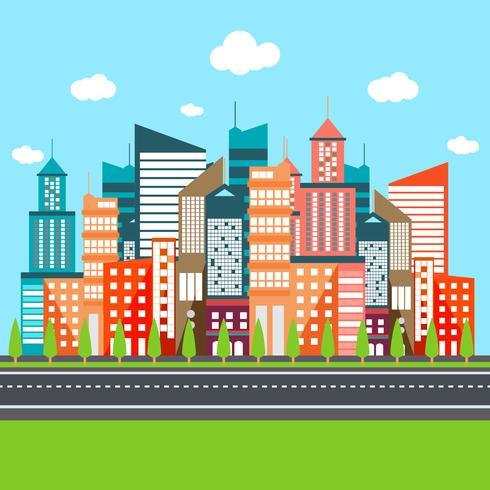 Ilustração em vetor plana urbana cidade moderna