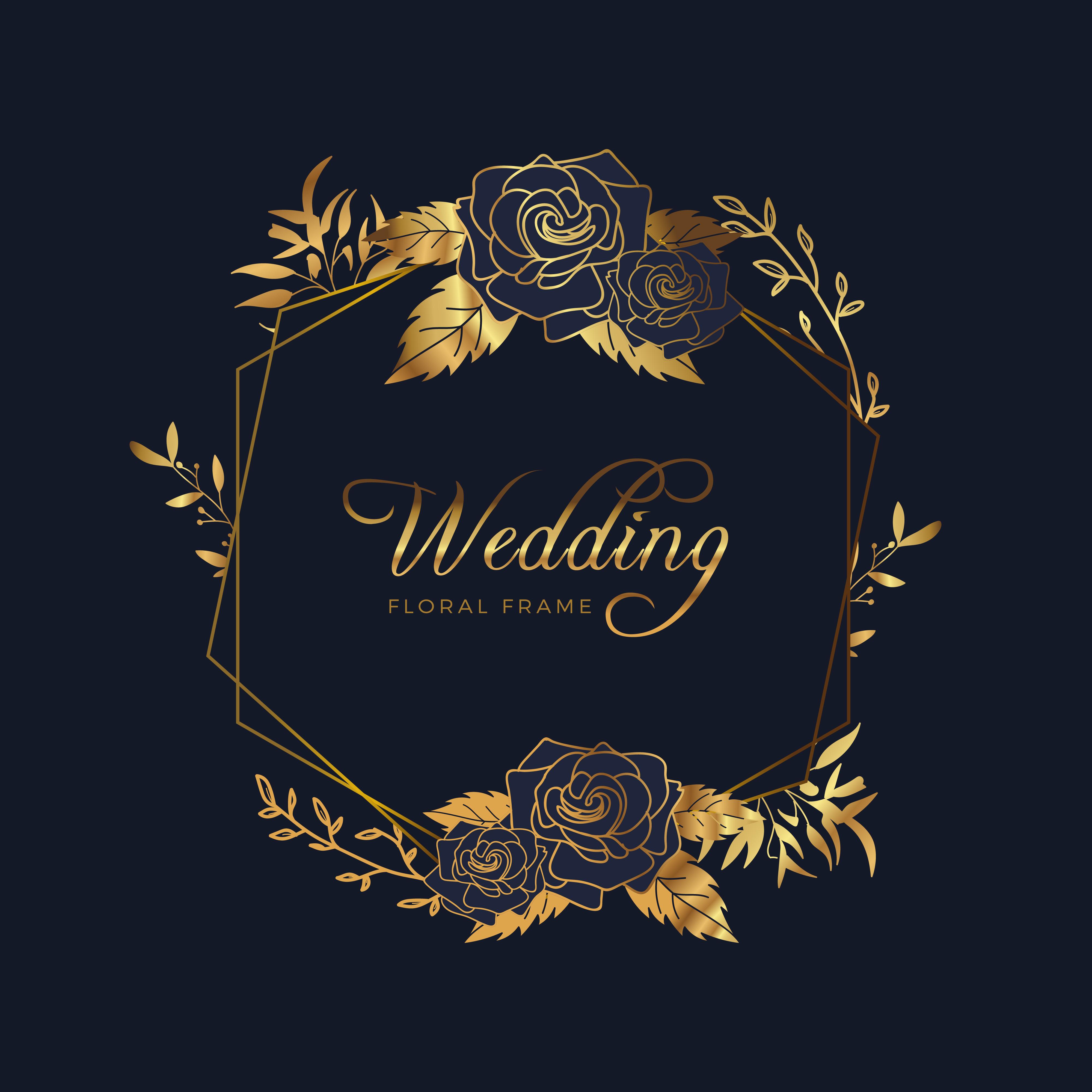 Golden Floral Frame Wedding Anniversary Background Download Free Vectors Clipart Graphics Vector Art