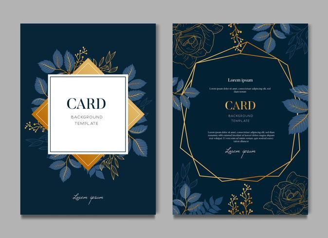 Marinblå kort med gyllene lövkort och bröllopsinbjudningsmall