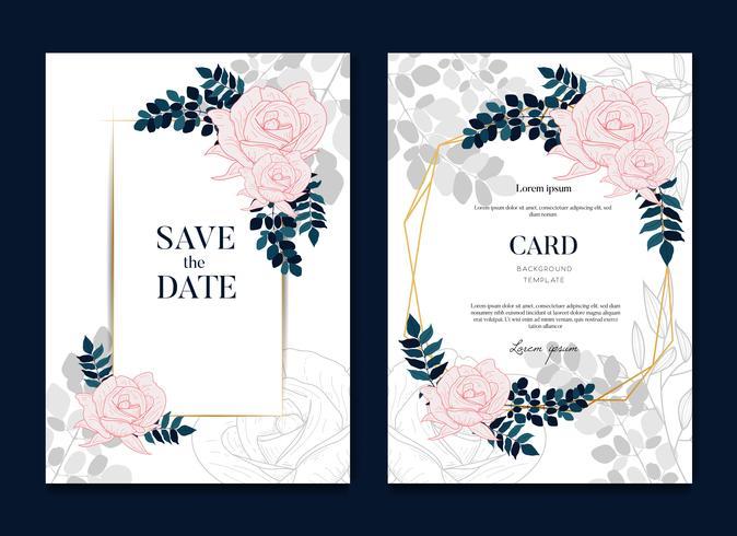 Simple Elegant Rose Wedding Frames Card and Invitation vector