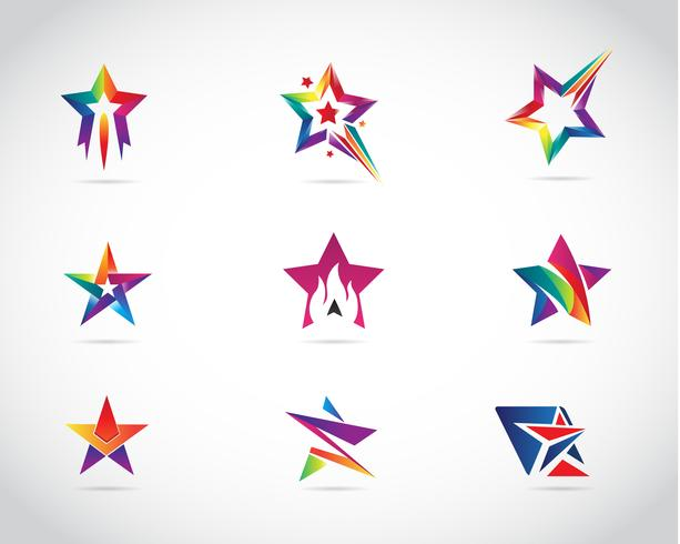 Star colorato Logo Design Set