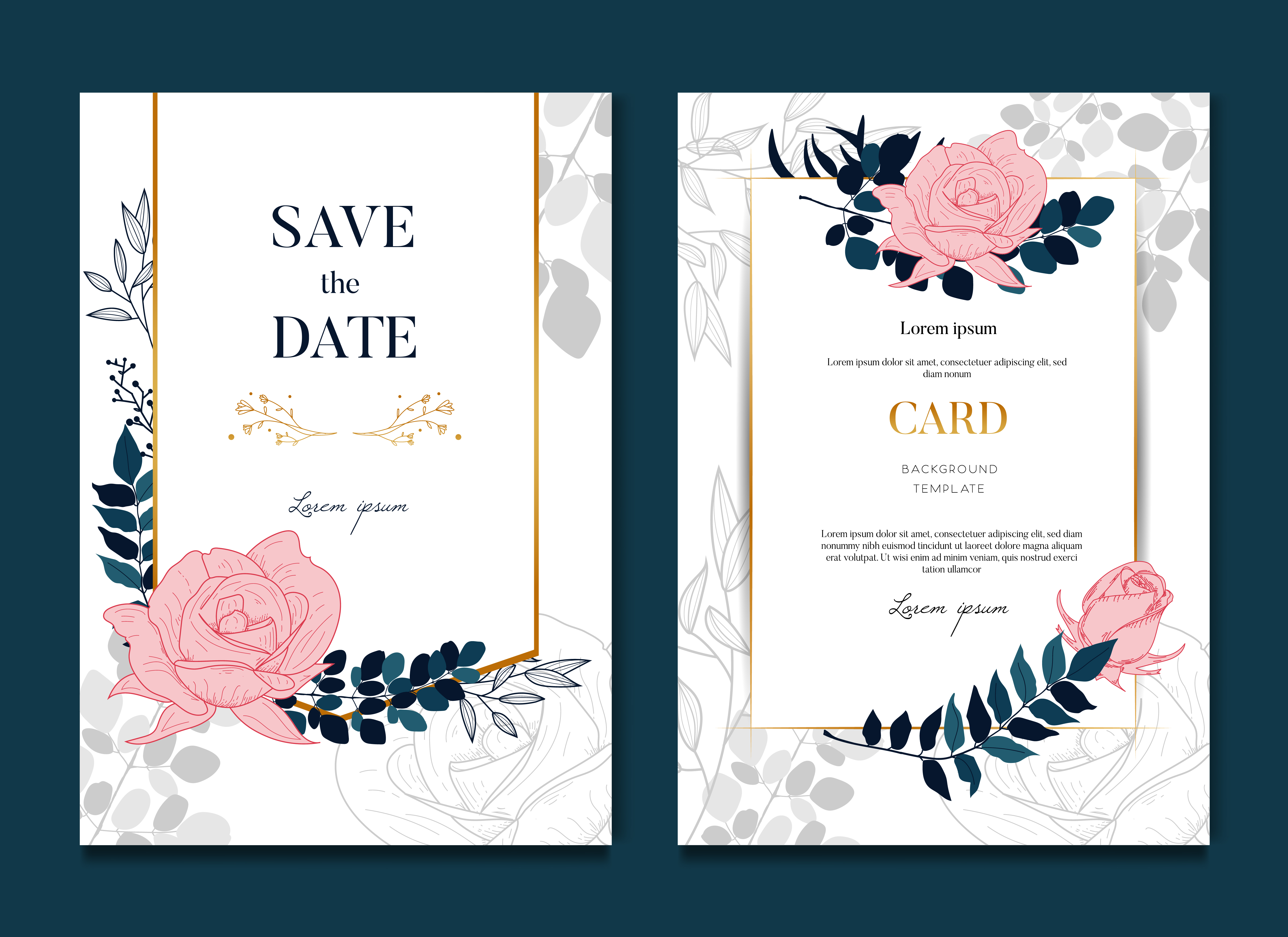 Simple Elegant Rose Wedding Frames Card And Invitation 602750 Download Free Vectors Clipart Graphics Vector Art