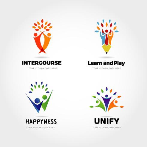 personas creativas socio logo diseño conjunto