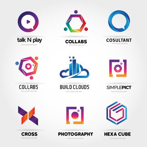 Logo coloré Business Set Collection Modèle Signe Symbole Icône