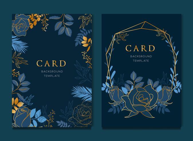 Cartão azul marinho com modelo de casamento de folhas douradas
