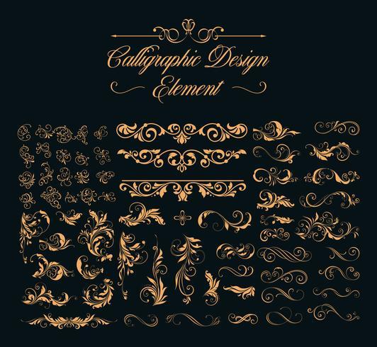 conjunto de elementos de diseño caligráfico