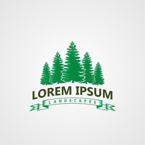 Creative Landscape pines tree Logo concept design templates