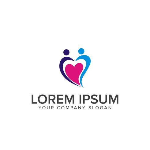 logotipo de suporte útil de pessoas. conceito de design de logotipo de cuidados familiares
