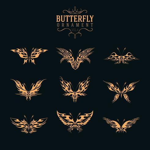 conjunto de ornamento de borboleta