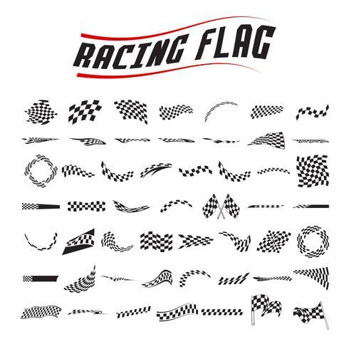 ensemble de collection de drapeaux de course