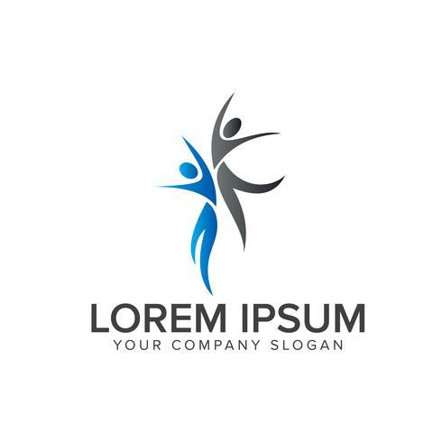 Springen Sie Menschen Logos. Geschäfts- und Beratungslogodesignkonzept t