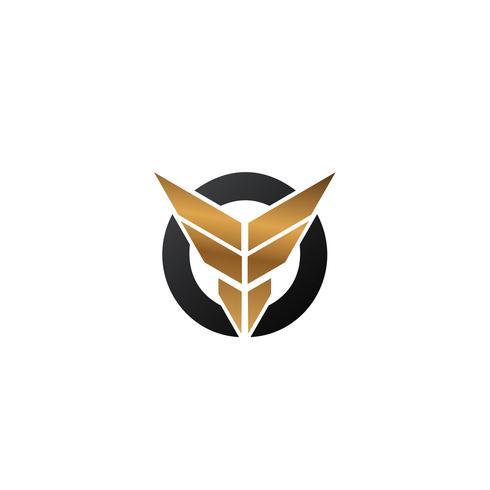 letra F asas logotipo. modelo de conceito de design de logotipo de segurança