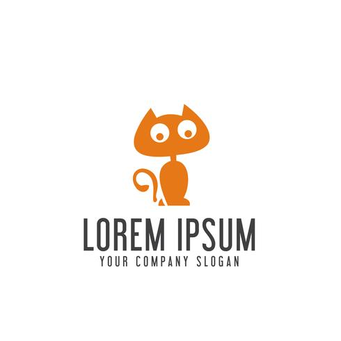 funny cat logo design concept template