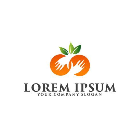 Plantilla de concepto de diseño de logotipo de mano de fruta