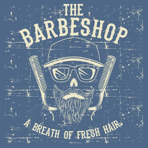 Schädel-Weinlese Barber Shop Logo Design Template-Vektor-Illustrations-Clipart