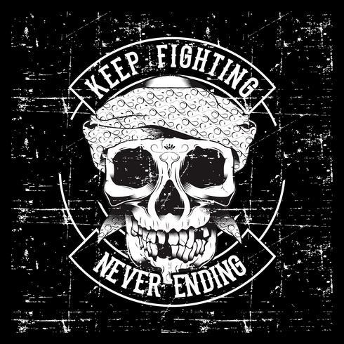 Slogan do crânio e dos punhos do vintage com motivação. Ilustração vetorial