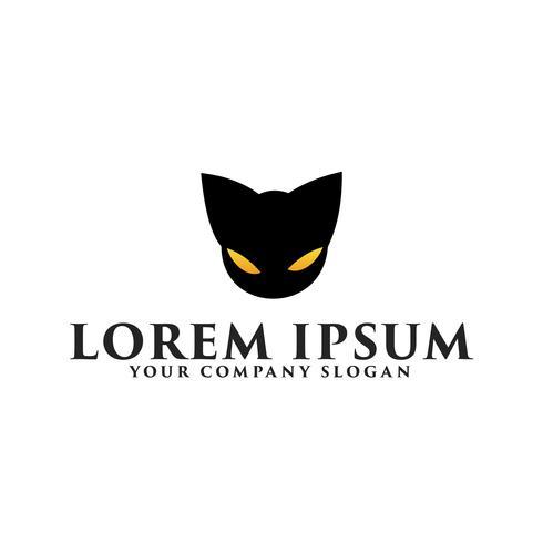 modelo de conceito de design de logotipo de gato preto cabeça