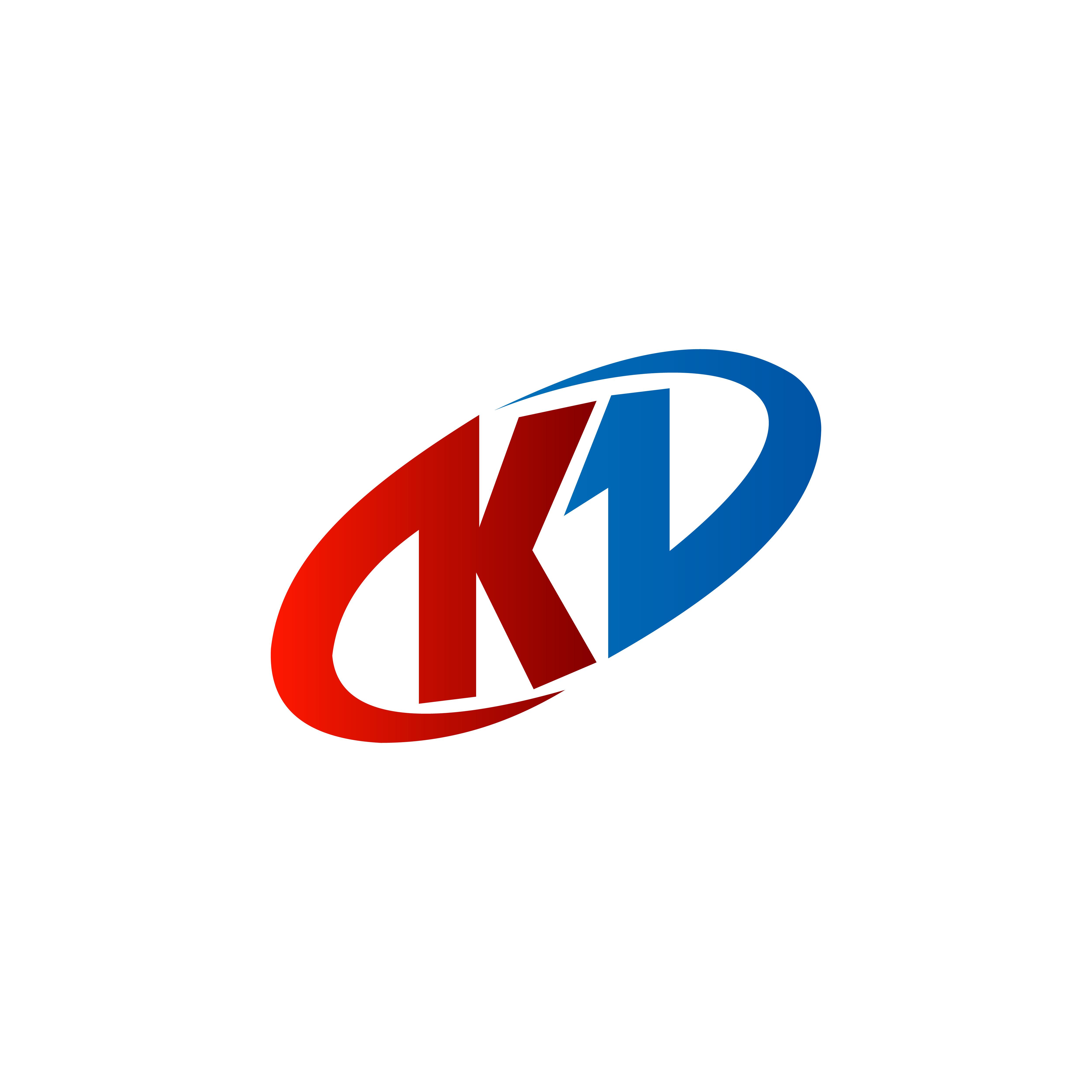 Modern Letter K Logo Concept:  Letter K Logo . Red Blue Color, Circle Logo Design Concept