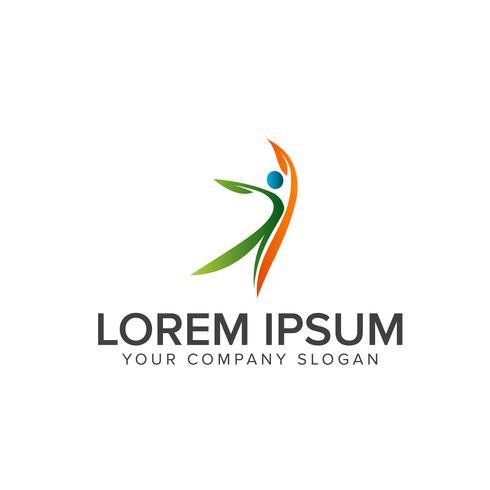 Logotipos de pessoas saudáveis. Médica e saudável logotipo design conceito temp