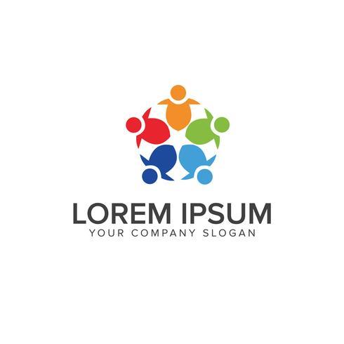 modelo de conceito de design de logotipo de trabalho de equipe