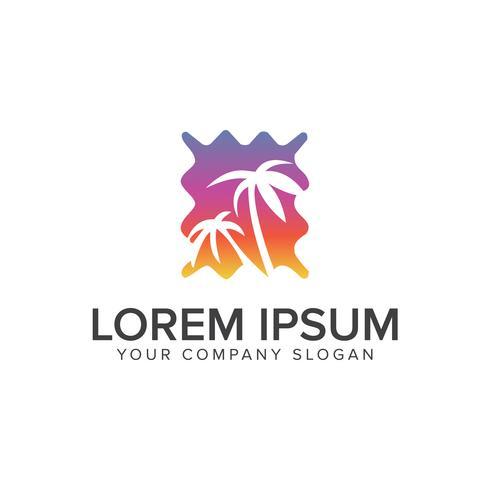 Palm och sol logo design. semester rese koncept mall vektor