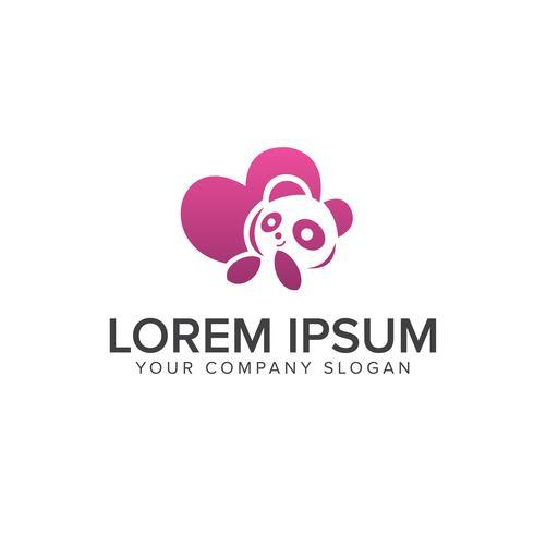 love panda logo design concept template vector