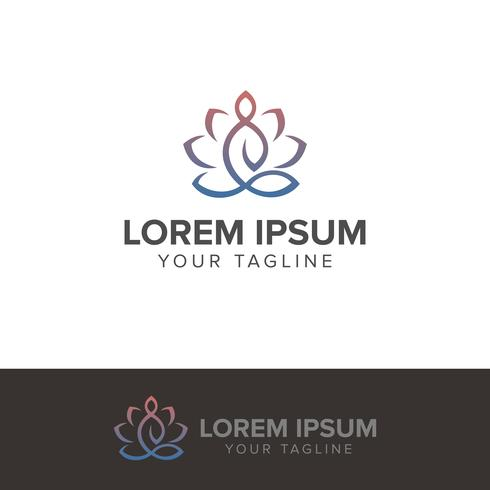 Illustrazione di vettore di logo di meditazione di yoga isolata su backg bianco