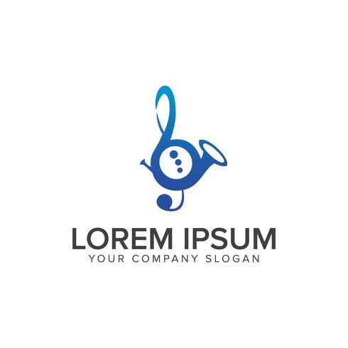 Modello di concetto di disegno di musica sassofono logo