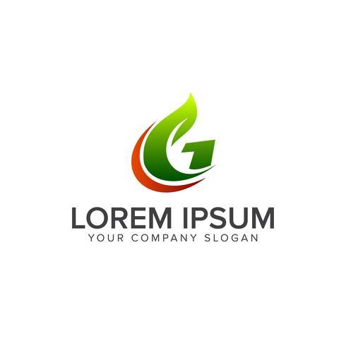 letter G leaf logo. Natural logos concept design vector