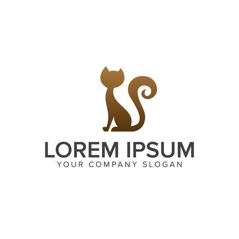 plantilla de concepto de diseño de logo de gato divertido vector