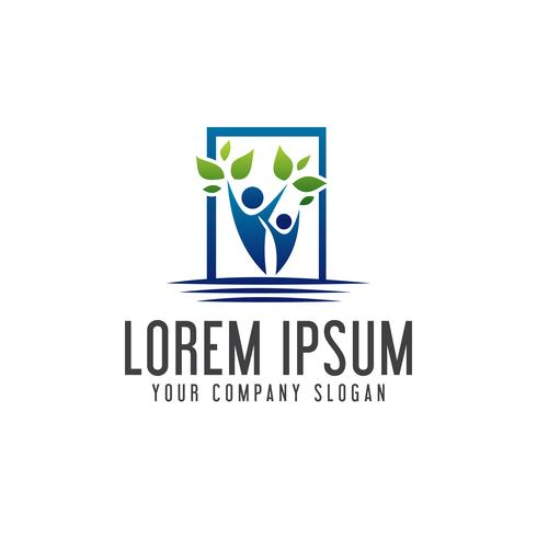 modelo de conceito de design de logotipo de pessoas de paisagismo.